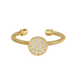 Bella Cavo Gold Cable Ring,  Simulated Diamond Circle  - 8