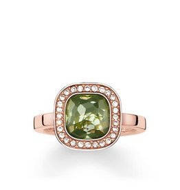 Thomas Sabo Ring - Rose Gold Square w/ Clear CZ & Green Synthetic Spinel 7 1/2