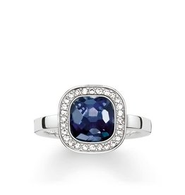 Thomas Sabo Ring - Silver Square w/ CZ & Blue Synthetic Corundum 7 /12