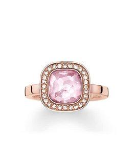 Thomas Sabo Ring - Rose Gold Square w/ CZ & Pink Synthetic Corundum 8 1/2