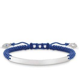 Thomas Sabo Love Bridge, Blue Pull Bead Bracelet w/ Evil Eye Tassels 21cm