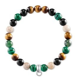 Thomas Sabo Charm Bracelet - Tiger Eye/Black/Green Beaded 6.1 in