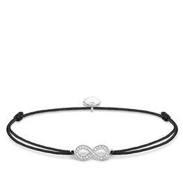 Thomas Sabo Adjustable Bracelet Black Chord Silver CZ Infinity