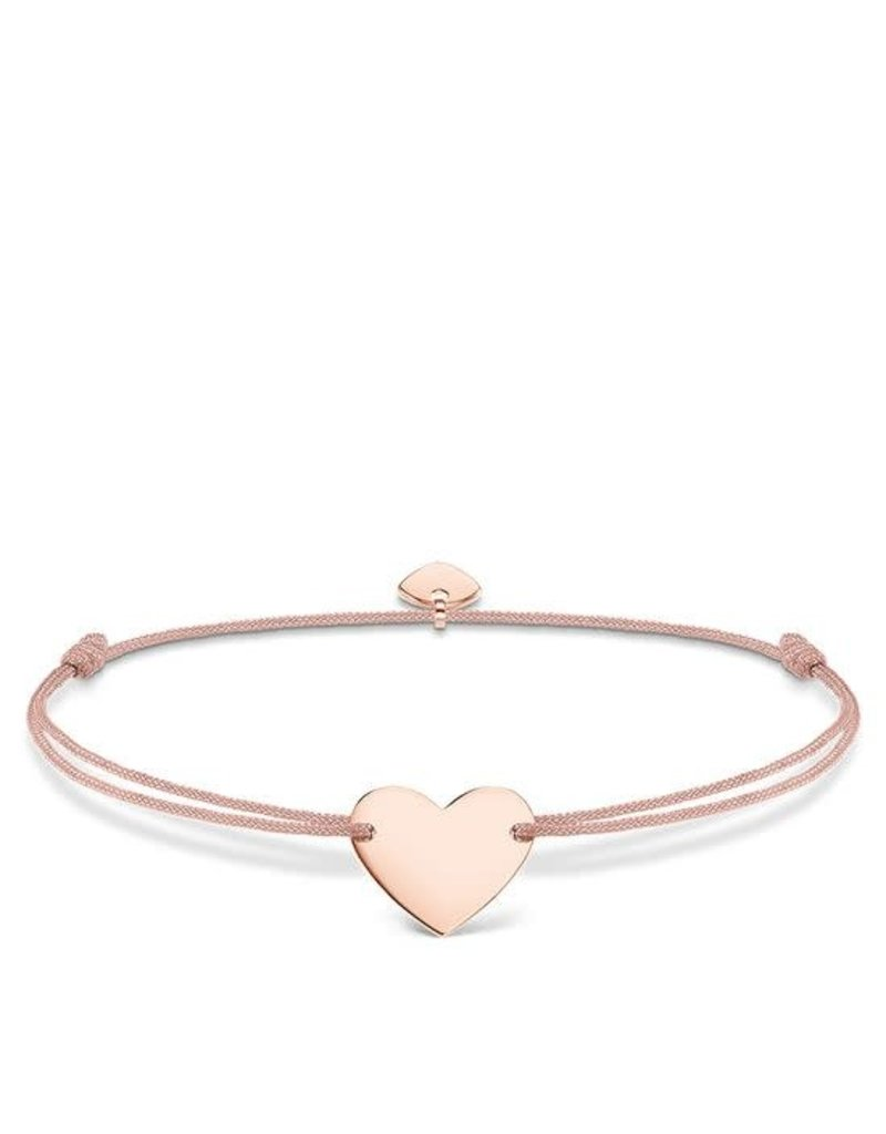 Thomas Sabo Adjustable Bracelet Pink Chord Rose Gold Heart