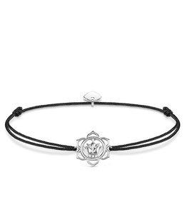Thomas Sabo Adjustable Bracelet Black Chord Silver Lotus