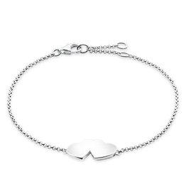 Thomas Sabo Bracelet, Flat Silver, Double Heart, Adjustable