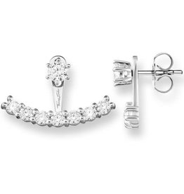 Thomas Sabo Earrings, 925 Sterling Silver/Zirconia, White Front/Back