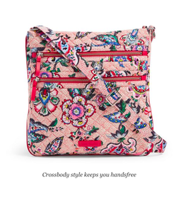 Vera Bradley Iconic Triple Zip Hipster Stitched Flowers