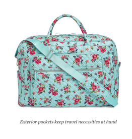 Vera Bradley Iconic Grand Weekender Travel Bag Water Bouquet