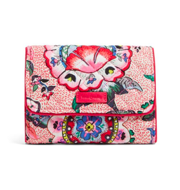 Vera Bradley Iconic RFID Riley Compact Wallet Stitched Flowers