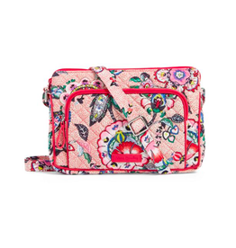 Vera Bradley Iconic RFID Little Hipster Stitched Flowers