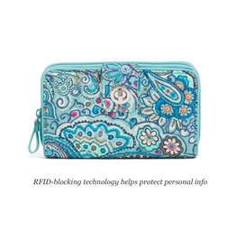 Vera Bradley Iconic RFID Turnlock Wallet Daisy Dot Paisley