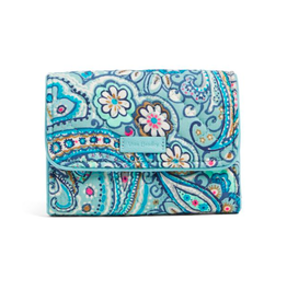 Vera Bradley Iconic RFID Riley Compact Wallet Daisy Dot Paisley
