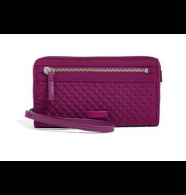 Vera Bradley Iconic RFID Front Zip Wristlet Gloxinia Purple