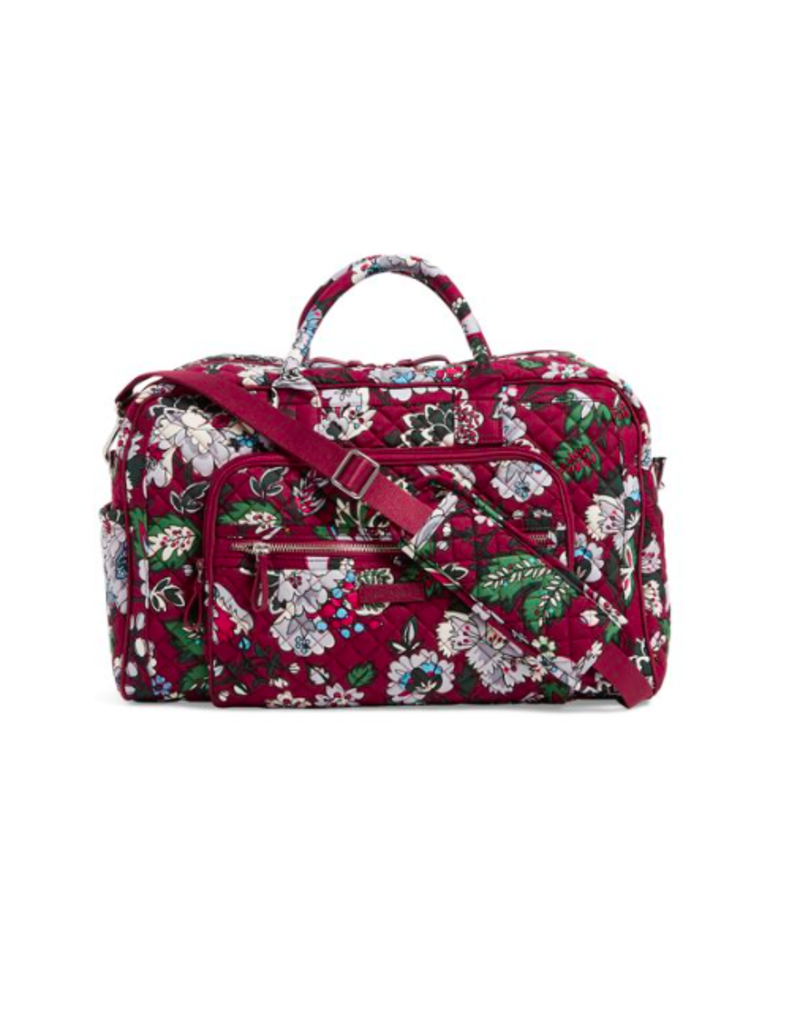 Vera Bradley Iconic Compact Weekender Travel Bag Bordeaux Blooms