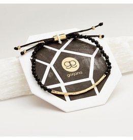 Gorjana Power Gemstone Bracelet, Protection, Black Onyx, Gold
