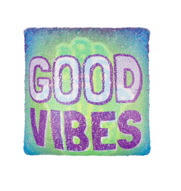Fashion Angels Enterprises Magic Sequin Printed Pillow- Good Vibes