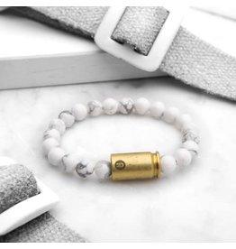 Brass & Unity Jewelry Inc. Howlite Warrior Bracelet, Small
