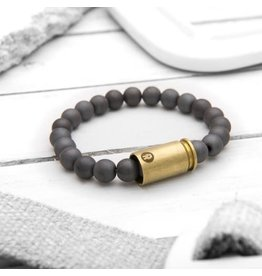 Brass & Unity Jewelry Inc. Matte Hematite Warrior Bracelet, Small