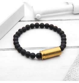 Brass & Unity Jewelry Inc. Mini Warrior Bracelet, Matte Black Onyx, Small