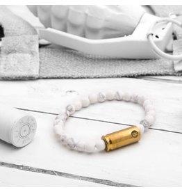 Brass & Unity Jewelry Inc. Mini Warrior Bracelet, Howlite, Small