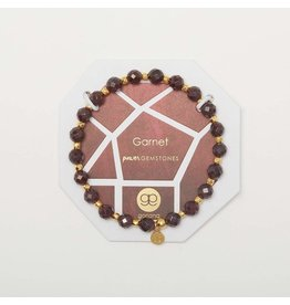 Gorjana Power Gemstone Elastic Bracelet-Energy (Garnet-Gold)