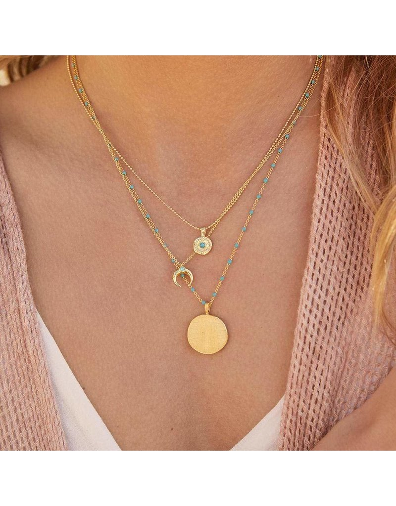 Gorjana Cayne Crescent Charm Adjustable Necklace-Green Turquoise (Gold)