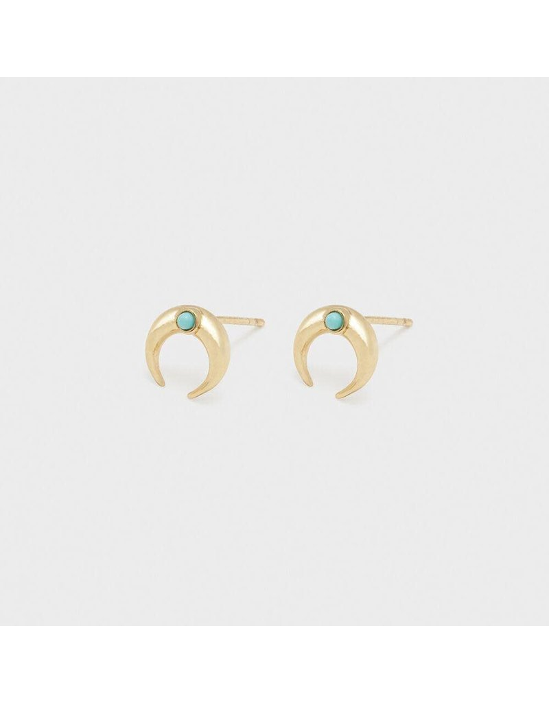 Gorjana Cayne Crescent Charm Studs-Green Turquoise- Gold