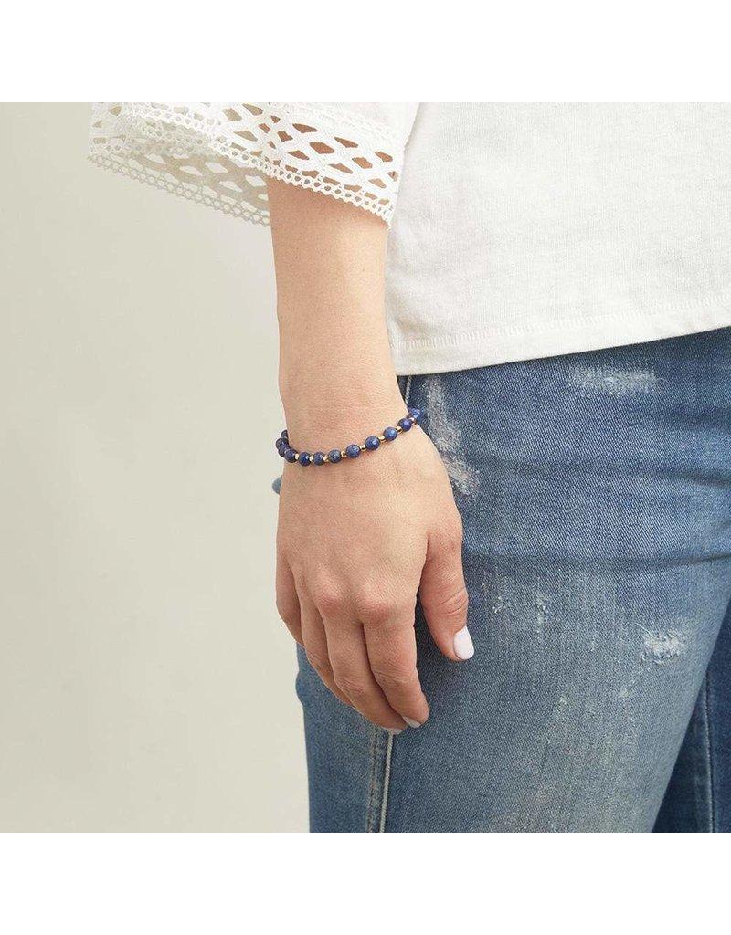 Gorjana Power Gemstone Elastic Bracelet-Wisdom (Lapis-Gold)