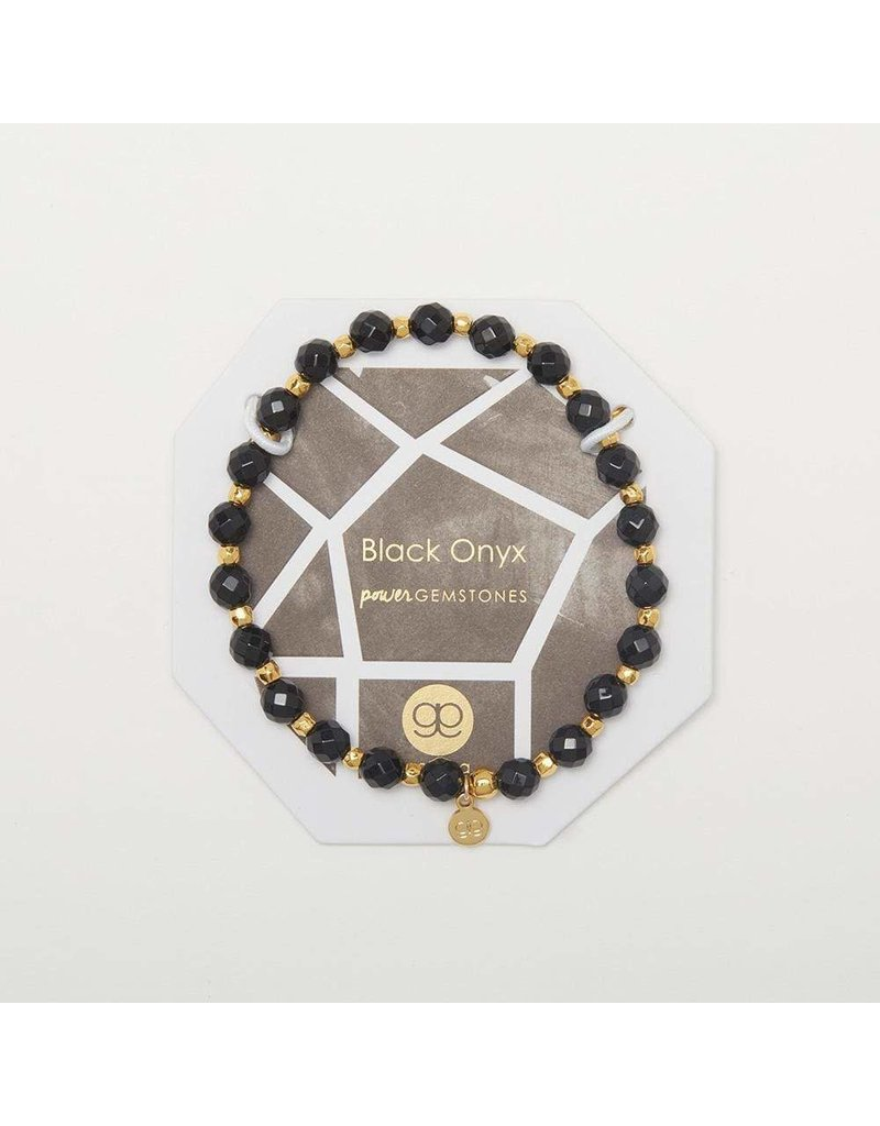 Gorjana Power Gemstone Elastic Bracelet-Protection (Black Onyx-Gold)