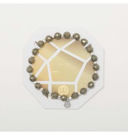 Gorjana Power Gemstone Elastic Bracelet-Strength (Pyrite-Silver)