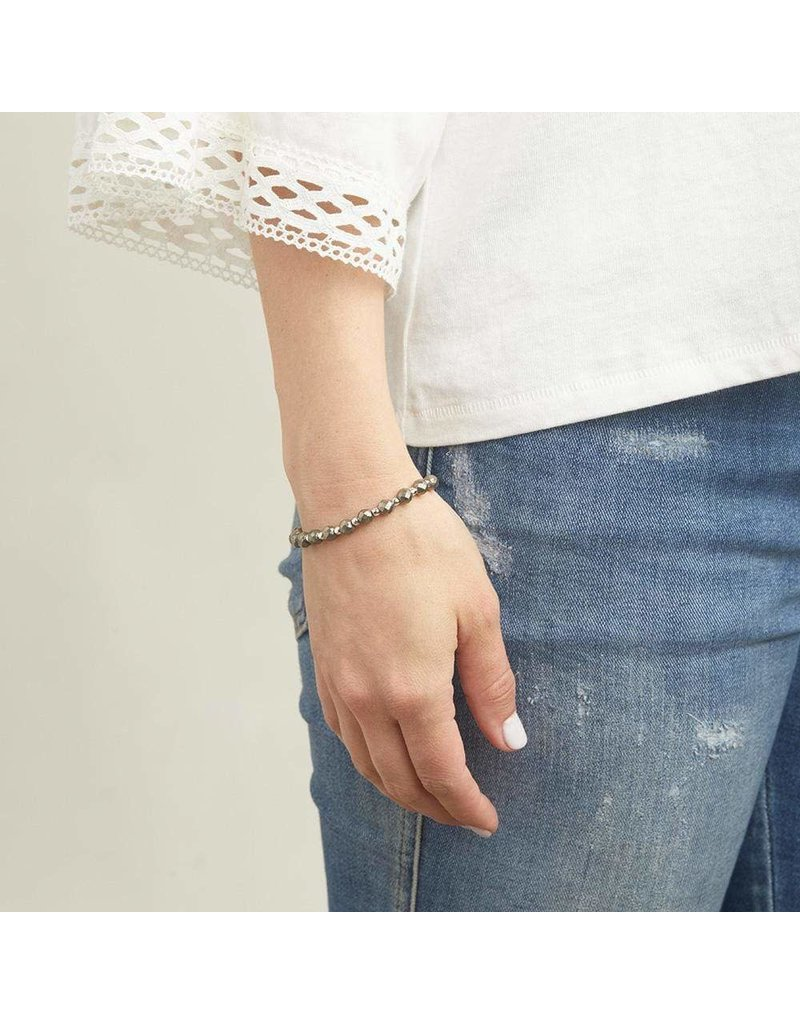 Gorjana Power Gemstone Elastic Bracelet-Strength (Pyrite-Silver)