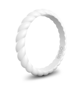 Enso Rings Braided Stackables 2 Stack, White/Obsidian