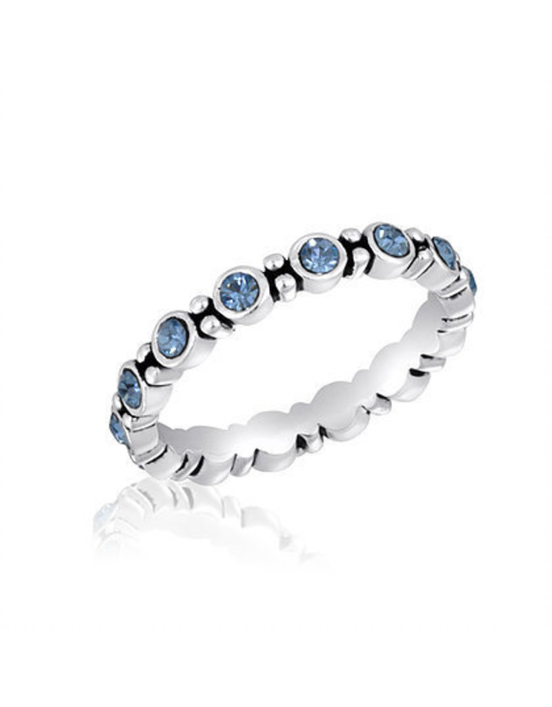 Center Court Blue CZ Round Stack Ring