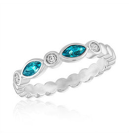Center Court Blue Diamond Endless Oval Stack Ring