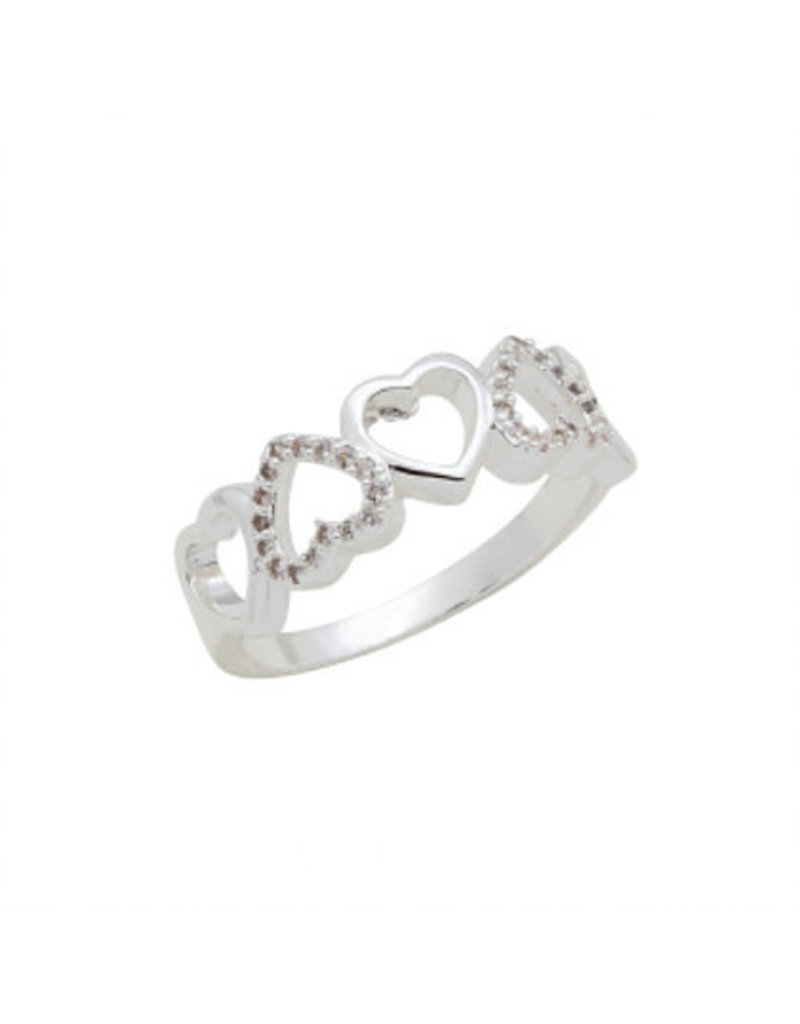 Center Court Heart Band CZ Stack Ring