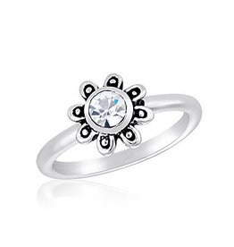 Center Court Large CZ Flower Stack Ring