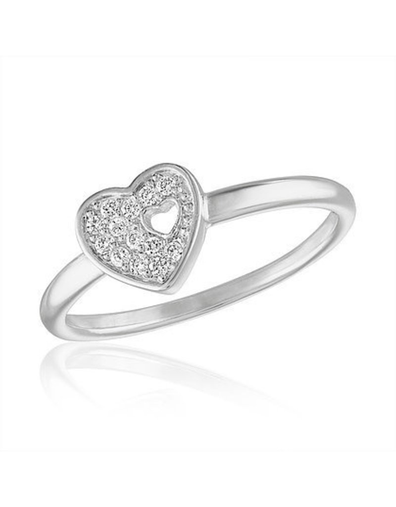 Center Court Cutout CZ Heart Stack Ring