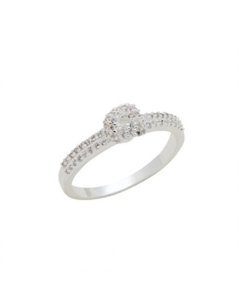 Center Court CZ Solitaire Stack Ring