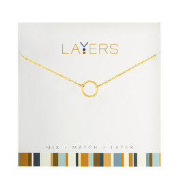 Center Court Layers Necklace-Gold Open Circle