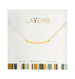 Center Court Layers Necklace-Gold Curve Bar