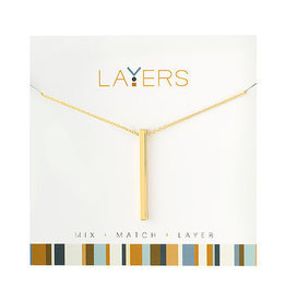 Center Court Layers Necklace-Gold Single Bar