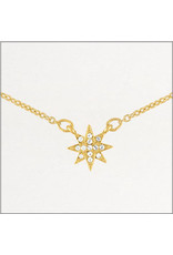 Center Court Layers Necklace-Gold CZ Starburst