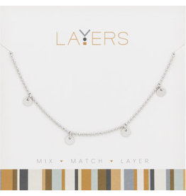 Center Court Layers Necklace-Silver Decorative Disc