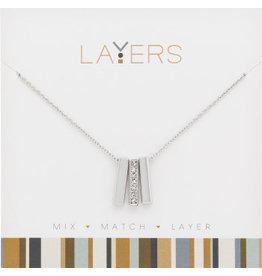 Center Court Layers Necklace-Silver Trio Bar