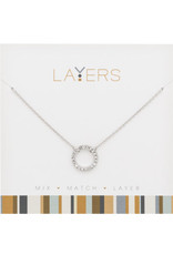 Center Court Layers Necklace-Silver CZ Decorative Circle