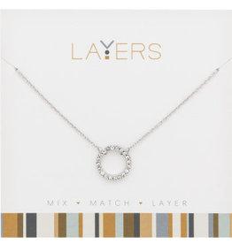 Center Court Layers Necklace-Silver CZ Decorative Circle