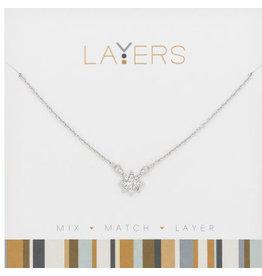 Center Court Layers Necklace-Silver CZ Starburst