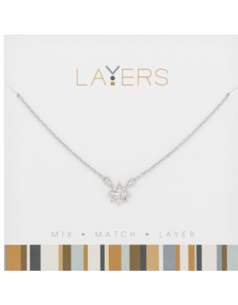 Center Court Layers Necklace-Silver CZ Starburst