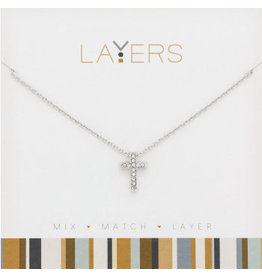 Center Court Layers Necklace-Silver Cross